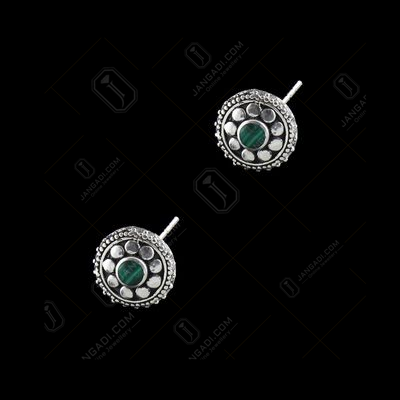 OXIDIZED SILVER BLACK SPINEL CASUAL EARRINGS