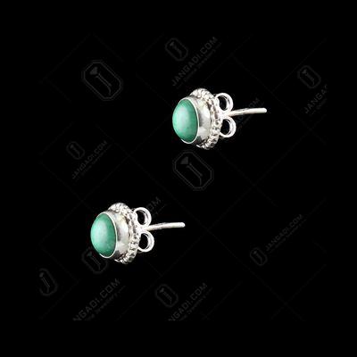 Silver Fancy Design Earrings Studded Semi Precious Stones