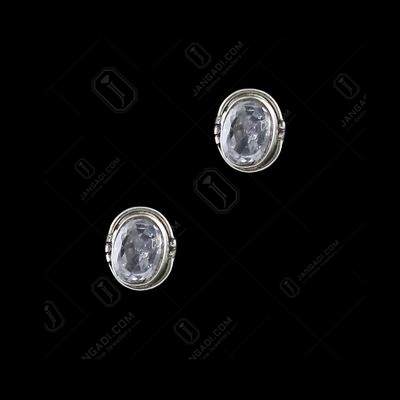 Silver Oxidized Floral Design Earring Studded Black Onyx Stones