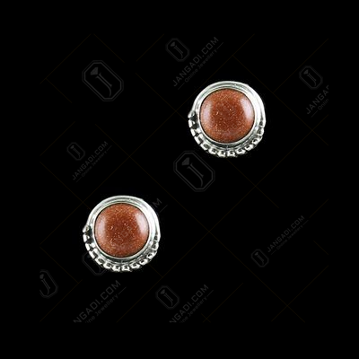 Silver Oxidized Floral Design Earring Studded Cats Eye Stones