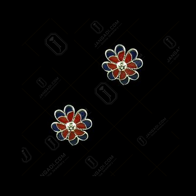 SILVER FLORAL ENAMEL EARRINGS