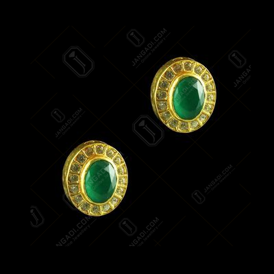 GOLD PLATED RUBY AND EMERALD OVAL EARRINGS