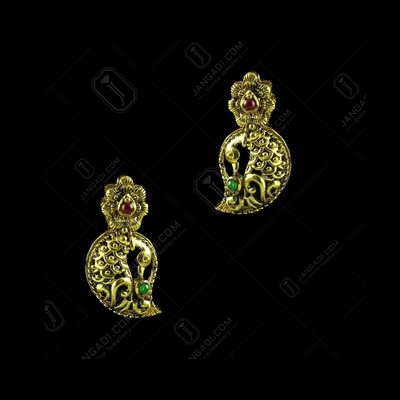 GOLD PLATED MANGO EARRINGS WITH RUBY AND EMERALD