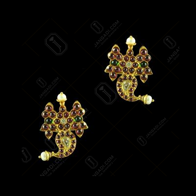 GOLD PLATED MANGO EARRINGS WITH MULTI COLOR STONES