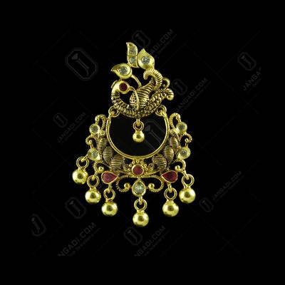 GOLD PLATED CPEACOCK CHANDBALI EARRINGS