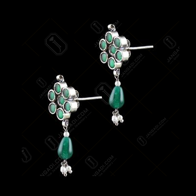 OXIDIZED SILVER KUNDAN STONE EARRINGS WITH JADE AND PEARLS