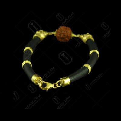GOLD PLATED LION BRACELET WITH RUDRAKSH