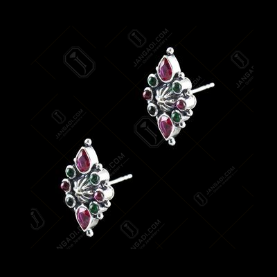 OXIDIZED SILVER WITH RED AND GREEN CORUNDUM FLORAL EARRINGS