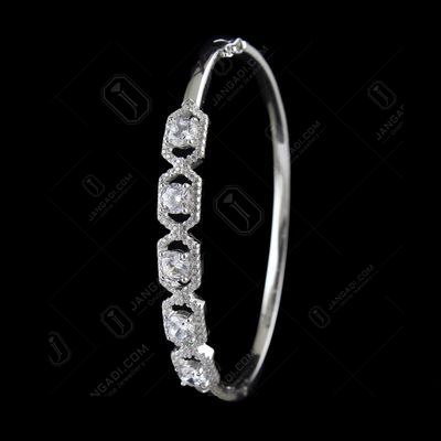 STERLING SILVER CZ LOCK BANGLE
