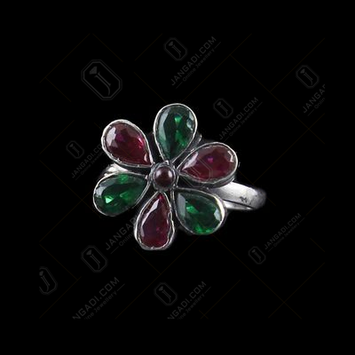 OXIDIZED SILVER FLORAL TOE RING WITH RED AND GREEN CORUNDUM STON