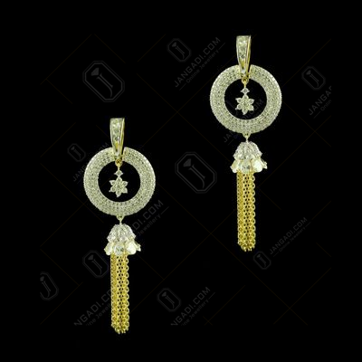 Gold Plated Round Design With Chain Earrings studded Semi Precious Stones