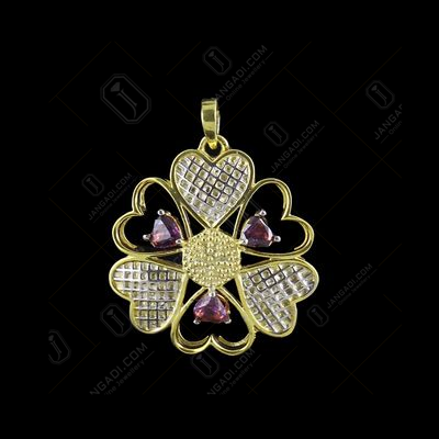 GOLD PLATED RED SWAROVSKI FLYING HEART PENDANT