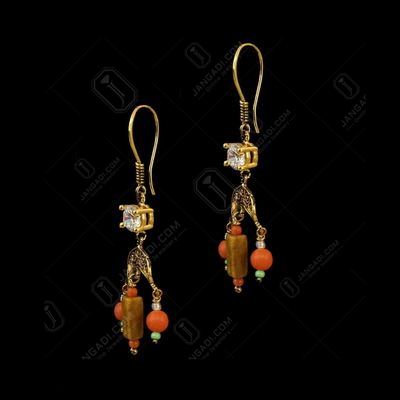GOLD PLATED MULTI COLOR HANGING EARRINGS