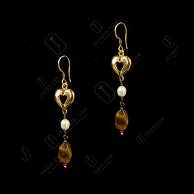Gold Plated Heart Shape Earrings studded Semi precious Stones