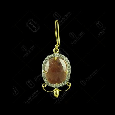 GOLD PLATED CURVED FLORAL  AGATE AND CZ HANGING EARRING