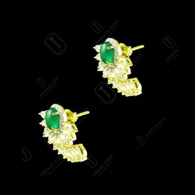 GOLD PLATED CZ WITH ONYX STONE EARRINGS