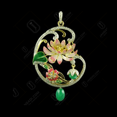 Gold Plated Meena And Fancy Pendant Studded Semi Precious Stones