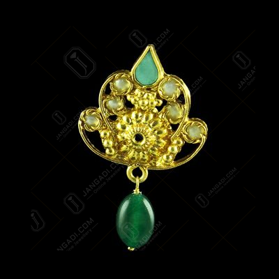 GOLD PLATED TURQUOISE  AND GREEN ONYX WITH PEARL EARRINGS