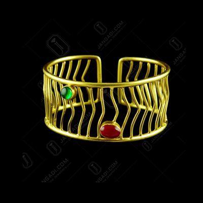 GOLD PLATED GREEN  AND ONYX BANGLE
