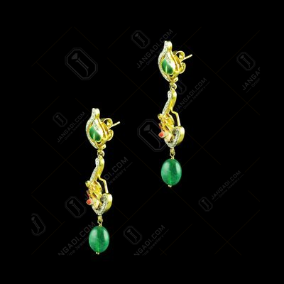 Gold Plated Meena And Fancy Ear Drops Studded Semi Precious Ston