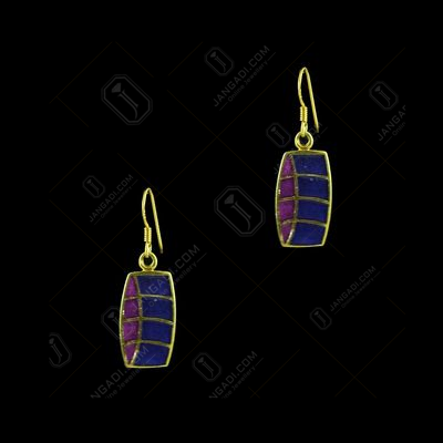 GOLD PLATED ENAMEL HANGING EARRINGS