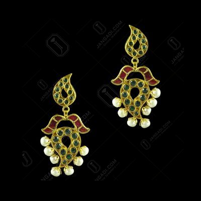 GOLD PLATED GREEN HYDRO AND CRYSTAL WITH PEARL EARRINGS