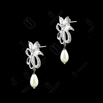 STERLING SILVER WITH CZ AND PEARL EARRINGS