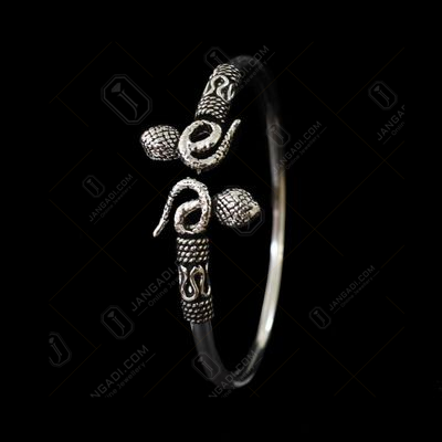 Silver Oxidized Floral Design Flexible Bangle