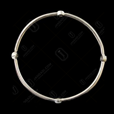 OXIDIZED SILVER CZ BANGLE
