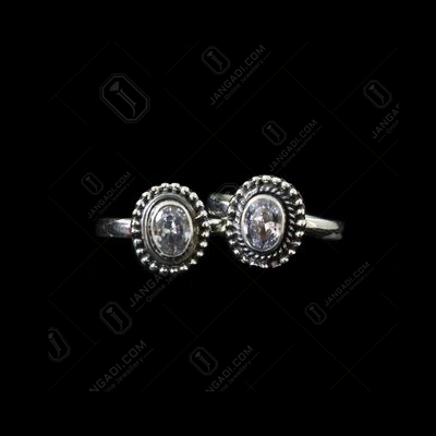ANTIQUE DESIGN TOE RINGS STUDDED AMETHYST STONES