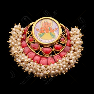 GOLD PLATED HAND PAINTING CHANBALI GANESHA RED ONYX AND PEARL BE