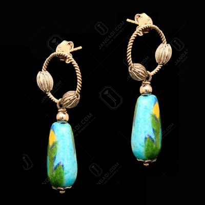 BLUE POTTERY LEAF DROPS EARRING