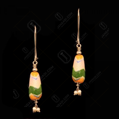 SILVER BULE POTTERY HANGING EARRINGS WITH PEARL