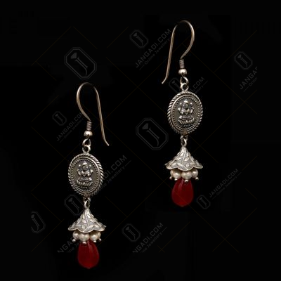 OXIDIZED SILVER LAKSHMI COIN HANGING JHUMKAS WITH PEARL AND RED