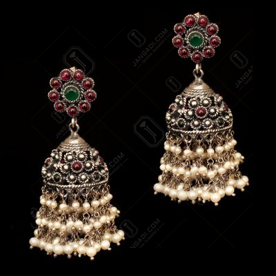 OXIDIZED SILVER JHUMKAS WITH RED CORUNDUM AND GREEN HYDRO WITH P