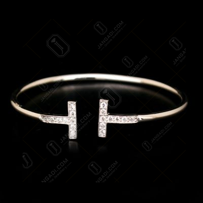 STERLING SILVER CZ FLEXIBLE BANGLE