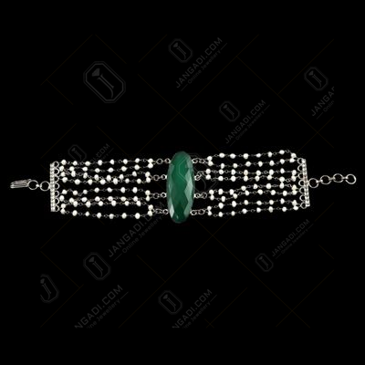 PEARL AATHI BUNCH BRACELET WITH GREEN ONYX STONE