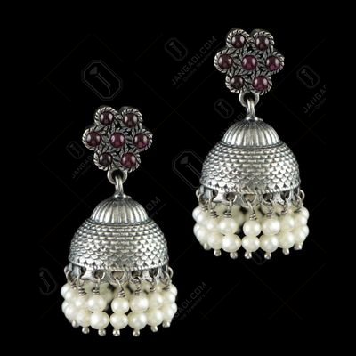 OXIDIZED SILVER JHUMKA WITH PERALS AND RED ONYX STONES