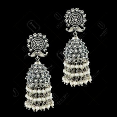 OXIDIZED SILVER JHUMKA WITH PERALS BEADS
