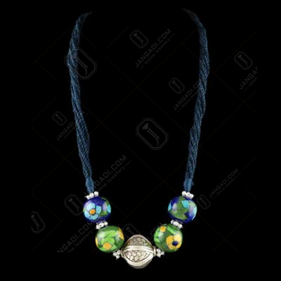OXIDIZED SILVER BLUE POTTERY THREAD NECKLACE