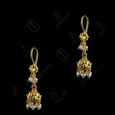 Gold plated floral jhumka studded semi precious stone