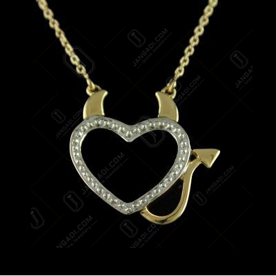 P7854 sterling Silver Gold Plated Heart Shape Pendant With Chain Studded Zircon Stones