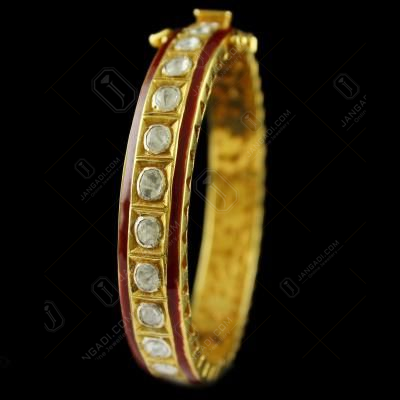 Gold Plated Kundan design Bangle