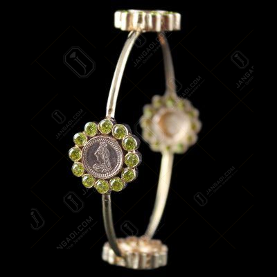 Silver Rose Gold Coin Bangle Studded Yellow Stones