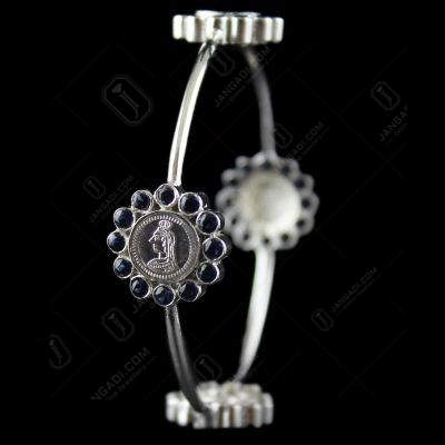 Silver Antique Coin Bangle Studded Blue Zircon Stones