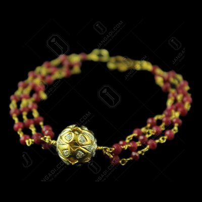 Gold Plated Red Cut Atti Bracelets With Zircon Stones