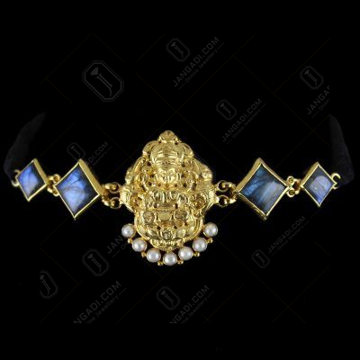 Gold Plated God Design Vanki Bajuband Studded Ladorite And Pearls