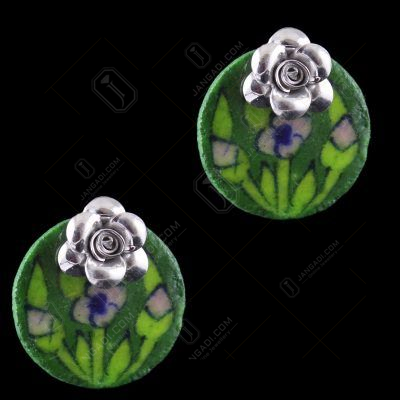 Silver Green Pottery Casual Earrings