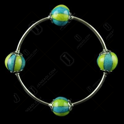 Silver Green Pottery Bangle
