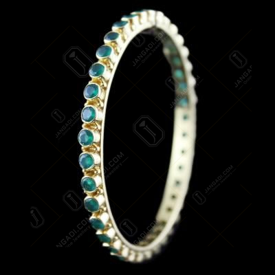 Gold Plated Green Onyx Bangle